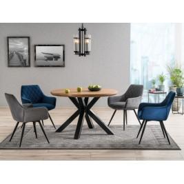 Krzesła Linea Velvet szare i granatowe + stół Ritmo