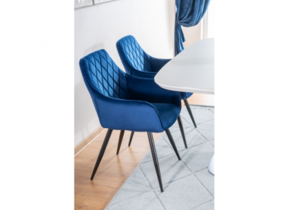 Krzesła Linea Velvet granatowe