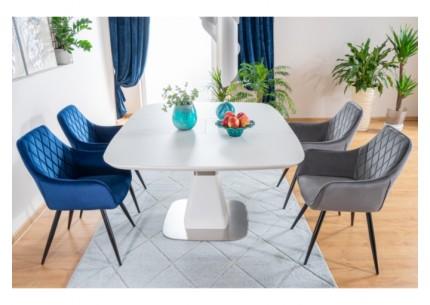 Krzesła Linea Velvet + stół rozkładany Cortez
